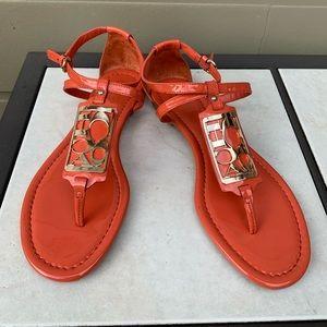 Coach Orange Patent Sandal